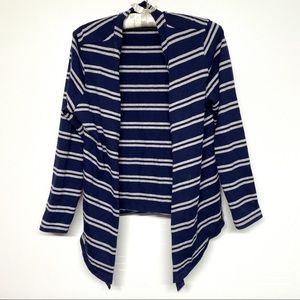Coldwater creek L open front blue striped cardigan